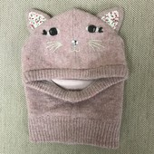 Accessorize  тёплая шапка шлем шапочка с ушками кошка