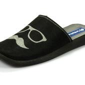 100-AC-3V-014 Тапочки мужские домашние Inblu Инблу цвет - черный, размеры 40-46, материал - фетр
