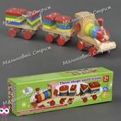 Деревянный поезд каталка Геометрика С 23225, паровоз, 2 вагона, пиримидка, геометрические фигуры