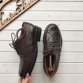 Кожаные мужские туфли броги рр 40