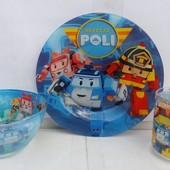 Набор детской посуды Робокар Поли 3 предмета