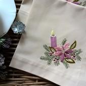 Салфетки новогодние 2 шт. с ручной вышивкой