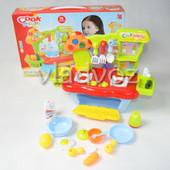 Детская пластиковая кухня для девочки, плита 2 камфорки голубая Cook fun