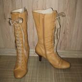 Фирменные кожаные очень красивые сапоги Nine West на шнуровке 39 р-р 8,5
