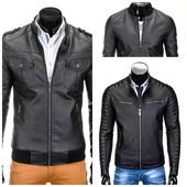 Мужская черная эко-кожаная куртка
