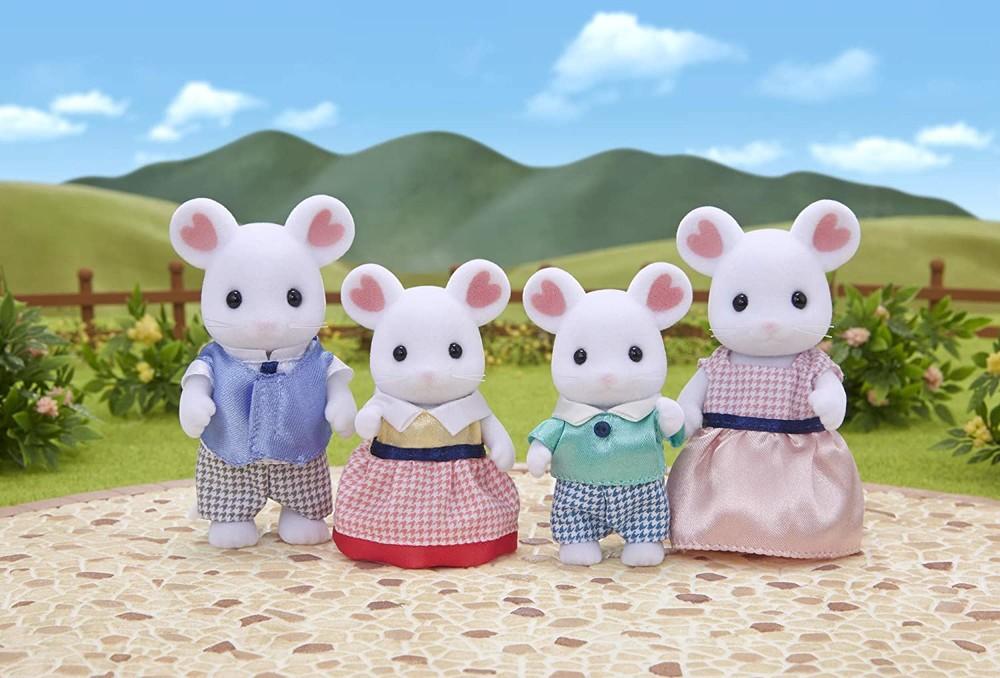 Фигурки сильваниан фэмилис семья белоснежных мышей epoch sylvanian families marshmallow mouse family фото №1