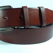 Джинсовый кожаный ремень рыжого цвета - 130 см.