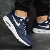 Кроссовки сетка Nike Air Max 1 Flyknit dark blue