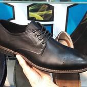 Туфли стильные черные кожа
