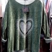 Модный женский свитшот Сердце, размеры 54-60, Италия