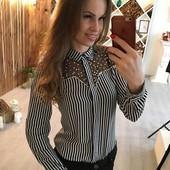 Красивая котоновая рубашка в полоску