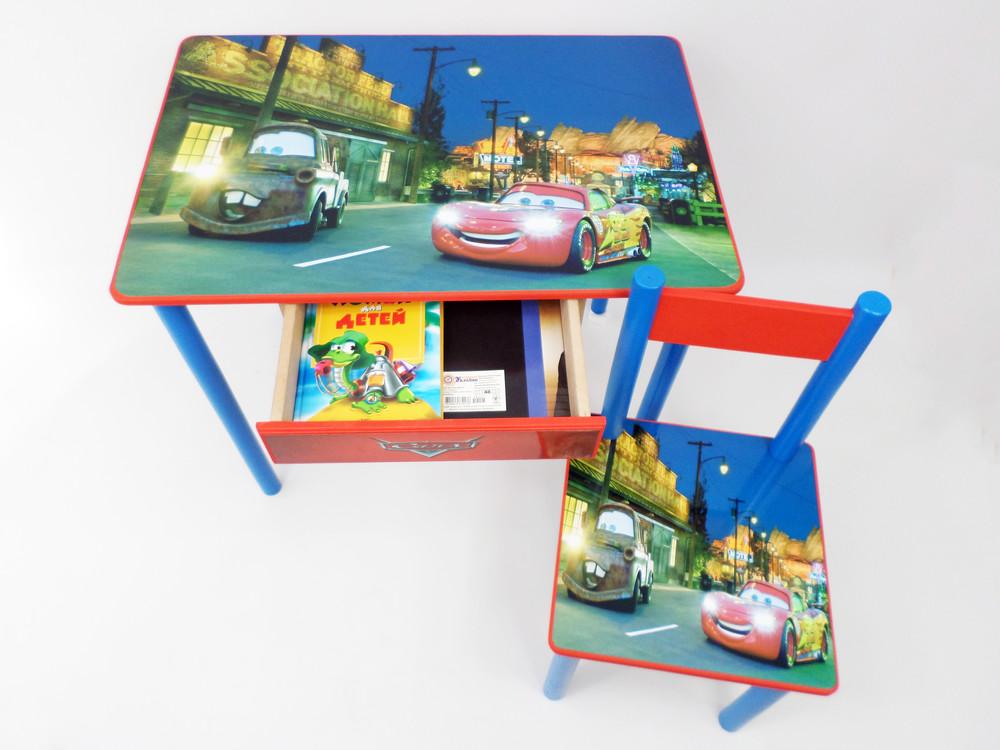 """Детский столик и стульчик """"тачки"""" от 2 до 7 лет (стол парта и стул +ящичек) фото №1"""