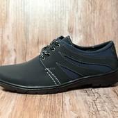 Туфли мужские на шнуровку – черный с синим (К13)