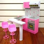 Мебель для барби кухня с барной стойкой Gloria 94016 кукольная мебель