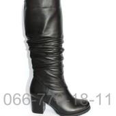 Скидка! 37 размер! Зимние кожаные сапоги на устойчивом каблуке