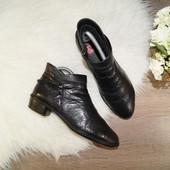 (39р./25,5см) Rieker! Кожа! Комфортные базовые ботиночки с цепочками