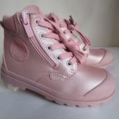 Распродажа пудровые ботиночки 32 р на 20,5 см  с защитой носка