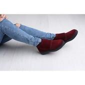Бордовые замшевые ботинки на толстой подошве, деми