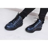Женские синие ботинки из натуральной кожи, деми