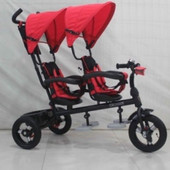 Трехколесный велосипед для двойни с фарой   красный