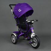Детский трехколесный велосипед  надувные колеса  Best Trike фиолетовый