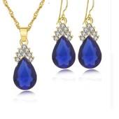 Цепочка ожерелье с серьгами под золото с синими кристаллами и белыми камушками