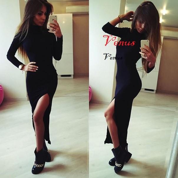 Классическое платье в пол с разрезом 2 цвета фото №1