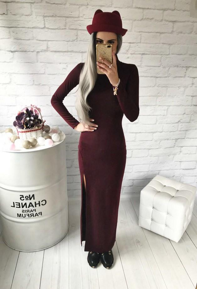 Классическое платье в пол с разрезом 2 цвета фото №9