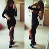 Классическое платье в пол с разрезом 2 цвета