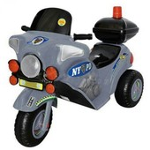 Детский электромотоцикл с багажником и мигалкой Орион 372_Серый