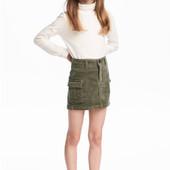 Стильная карго  юбка вельвет с накладными карманами H&M