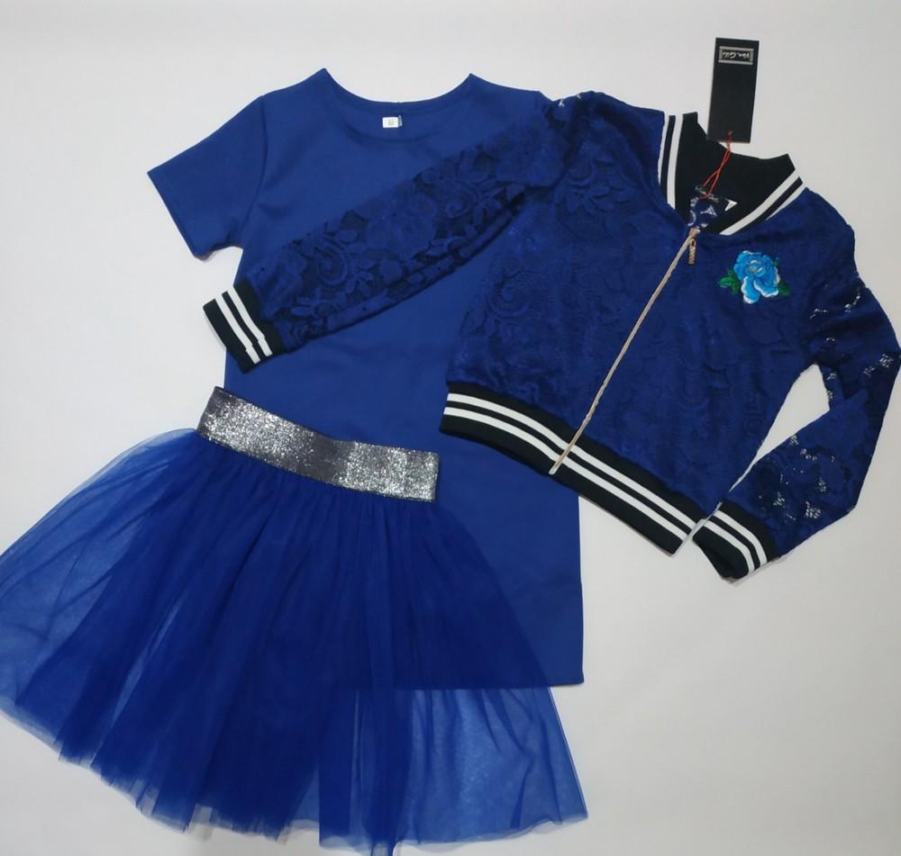 Стильный костюм тройка ажур от производителя 122-146 фото №1