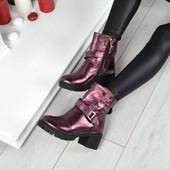 Ботинки марсала Натуральная кожа, кожаные ботинки на каблучке, кожаные весенние ботинки