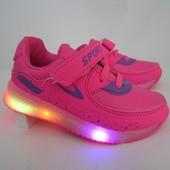 Розовые  кроссовки 26-31 р   с мигающей подошвой