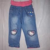 9-18 мес., р. 74-86 джинсы на подкладке зауженные с Китти C&A
