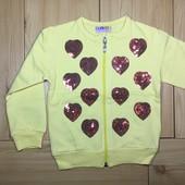 Кофта на молнии для девочки Сердечки рр. 86-128 2 цвета Beebaby (Бибеби)