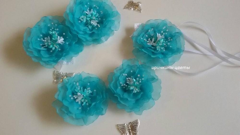 Роскошные цветы из шифона на резинках,заколках фото №1