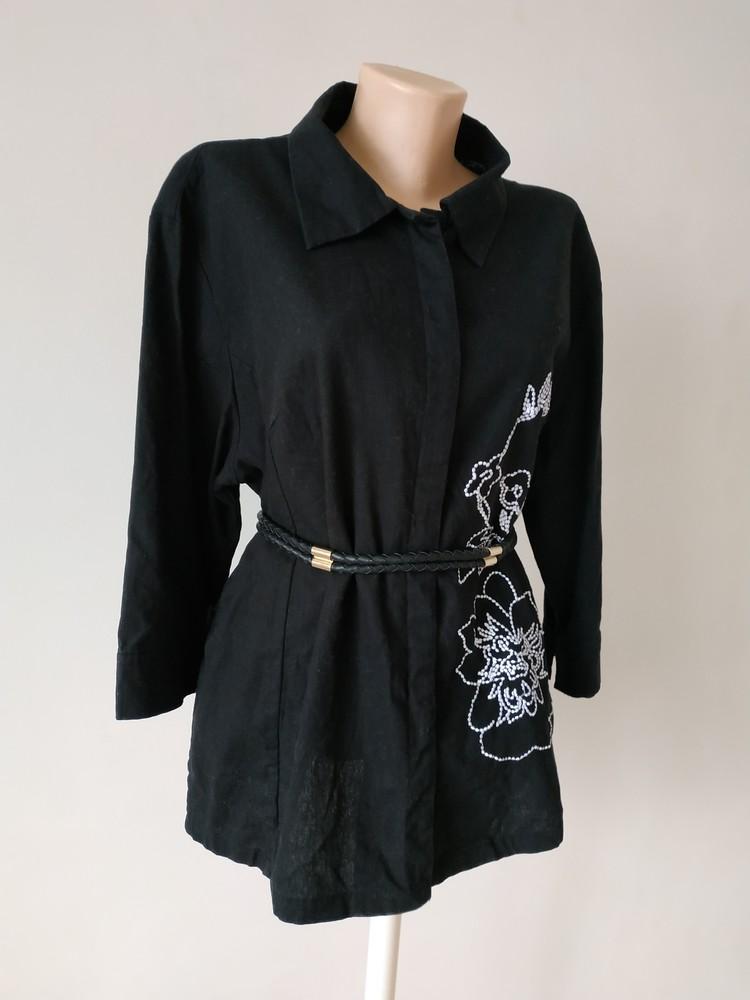 Xl женский пиджак жакет с вышивкой натуральная ткань фото №1