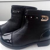 Ботинки под рептилию лак. носок 41р.-25,5 см