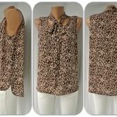 Стильная брендовая шифоновая блузка Atmosphere с леопардовым принтом.Размер UK14(L,наш 48).