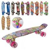 MS 0748-3 скейт пенни борд граффити, 56.5 см, ПУ колеса свет