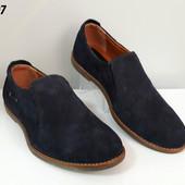 Туфли на резинках № 207 синяя замша