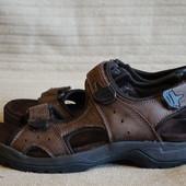 Легкие ортопедические открытые темно-коричневые кожаные сандалии M&S Англия 43 р.