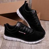 Стильные черные мужские замшевые кроссовки