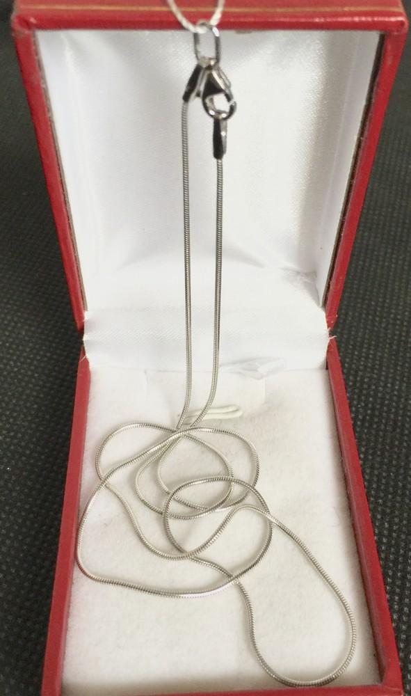 Новая родированая серебряная цепочка снейк 50 см серебро 925 пробы фото №1