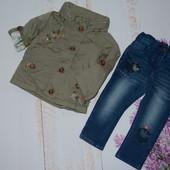 Курточка ветровка и джинсы на  на 9-12 мес некст