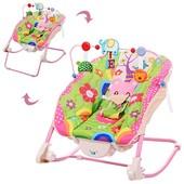 Bambi 68127 шезлонг качалка детский розовый с вибрацией
