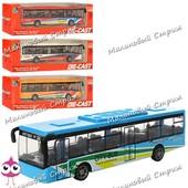 Металлический автобус, ездит по инерции, двери открываются, резиновые колеса, 12см