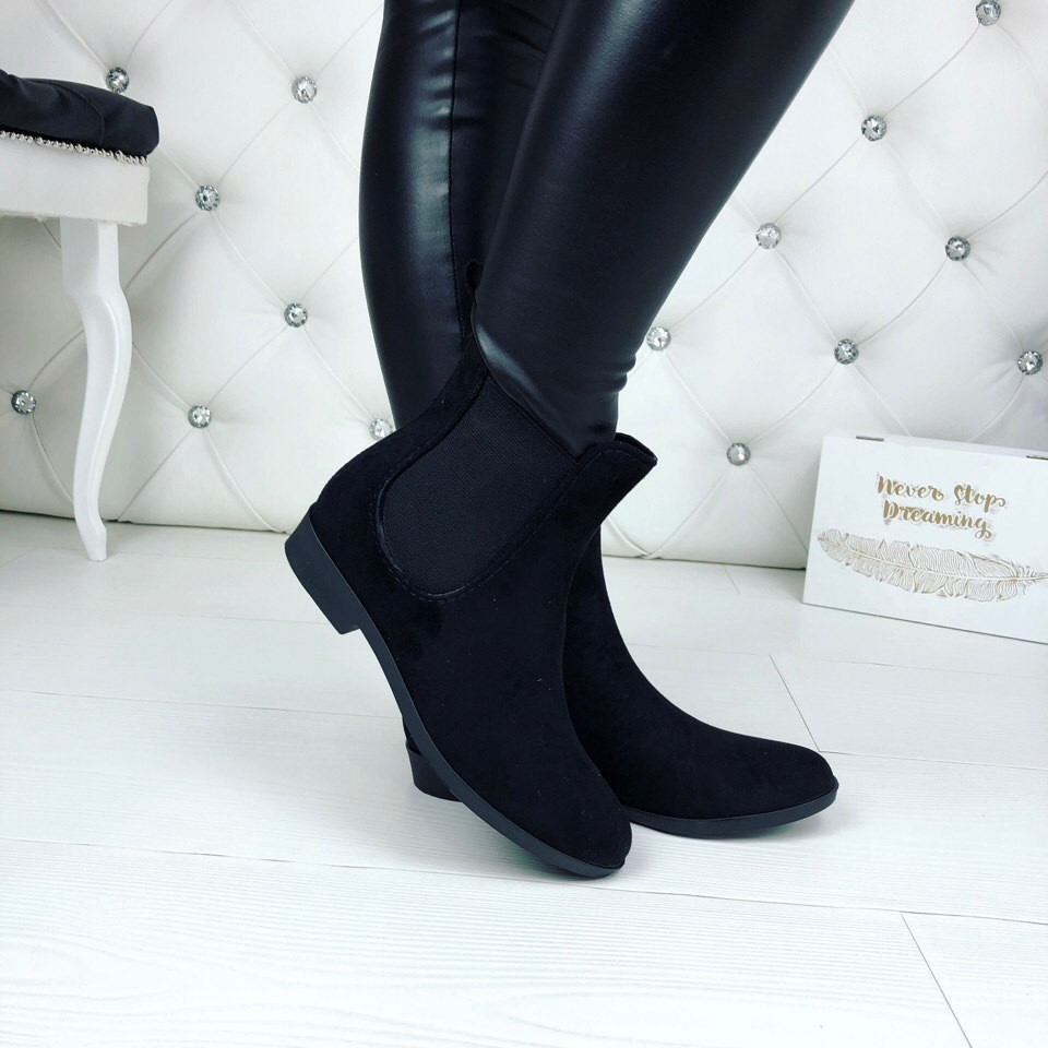 Резиновые ботиночки эко-замша серые и черные фото №11