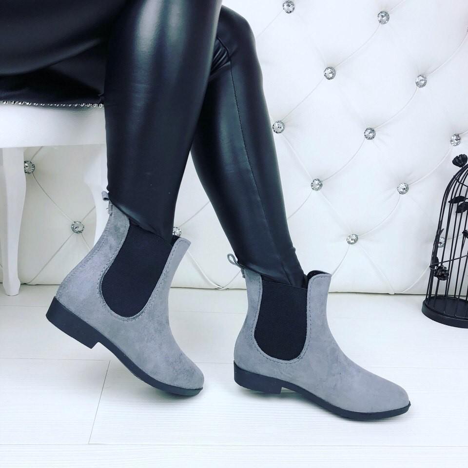 Резиновые ботиночки эко-замша серые и черные фото №2